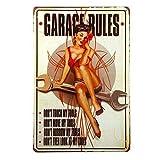 Garage Rules Pin Up Girl Metal Tin Sign Vintage Aluminum Metal Signs Tin Plaques Wall Poster for Gar...