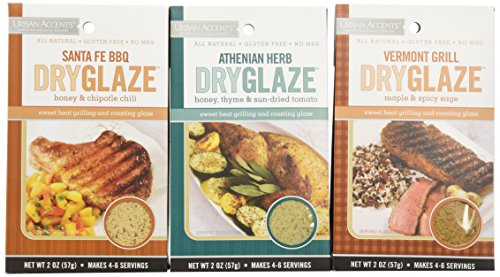 Urban Accents All Natural Gluten Free Grilling And Roasting DryGlaze 3 Flavor Variety Bundle: (1) Urban Accents Vermont Grill Maple & Spicy DryGlaze, (1) Urban Accents Athenian Herb Honey, Thyme & Sun