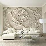Papel tapiz fotográfico Fotomural 3D Flor blanca tallada 200x150 cm Papel pintado premium no tejido Mural Apto para sala de estar dormitorio Decoración de la papel tapiz