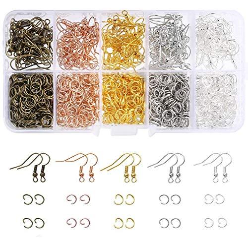 Eisen Ohrringe Haken Ohrhaken Metall Spaltringe Für Halskette Ohrhaken Für Ohrring Herstellung Messing Ohrring Haken Zubehör Perfekt Für Die Anfertigung Ihrer Eigenen Diy Ohrringe Mit Box,5 Farben