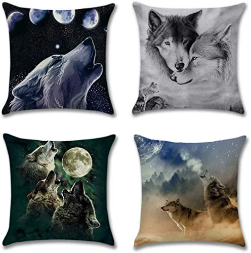 Pillowcases 4 Pack Cushions for Sofa Cotton Linen Throw Decorative Pillowcase Case for Sofa Car Bed Pillow 45 x 45cm-Wolf