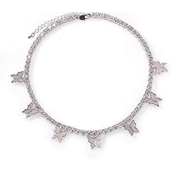 Jacruces Butterfly Necklace Tennis Chain Butterfly Choker Bling Iced CZ Butterfly Necklace Silver Women