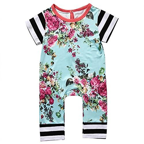 Ropa de bebé bebé bebé recién nacido bebé niña verano casual jersey floral mono, verde menta, 1 mes