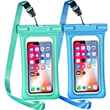 GLBSUNION Waterproof Phone Pouch Floating, 2 Pack IPX8 Universal Waterproof Case Underwater Dry Bag Compatible iPhone 11 Pro Xs Max Xr X 8 Plus Galaxy s10 Note Google Pixel up to 6.9' (Blue,Syan)