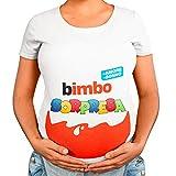 T-Shirt Maglia Premaman Bimbo Bimba Sorpresa, Idea Regalo per Futura Mamma, Manica Corta (Bianco Maschietto, L)