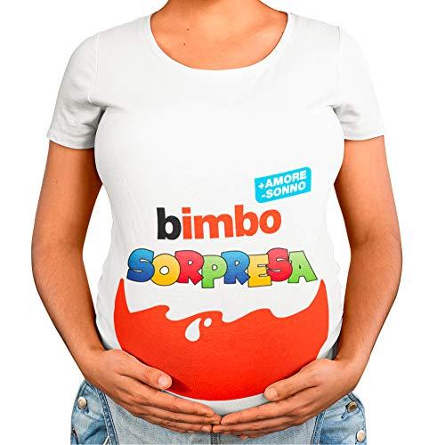 T-Shirt Maglia Premaman Bimbo Bimba Sorpresa, Idea Regalo per Futura Mamma, Manica Corta (Bianco Maschietto, M)