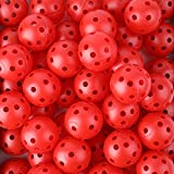 Faswin 150 Pack Practice Golf Balls - 40mm Hollow Plastic Golf Training Balls Red Airflow Golf Balls for Swing Practice Driving Range Home Use Indoor