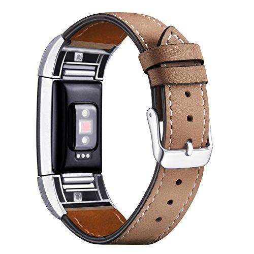 """Mornex Für Fitbit Charge 2 Armband, echtes Leder-Armbänder, Unisex-Ersatzband mit Metall Konnektoren(5,5\""""-8,1\"""") Hellbraun"""