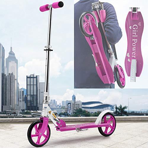 ArtSport Scooter Cityroller Mädchen Big Wheel 205mm Räder klappbar höhenverstellbar – Kinder-Roller ab 6 Jahre - Tretroller bis 100kg – pink