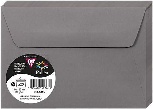 Clairefontaine 5636C - Un paquet de 20 enveloppes Pollen auto-adhésives 11,4x16,2 cm 120g, Gris acier