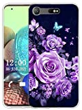 Sunrive Funda Compatible con Sony Xperia XZ1 Compact, Sunrive Silicona Slim Fit Gel Transparente Carcasa Case Bumper de Impactos y Anti-Arañazos Espalda Cover(X Mariposas y Rosas)