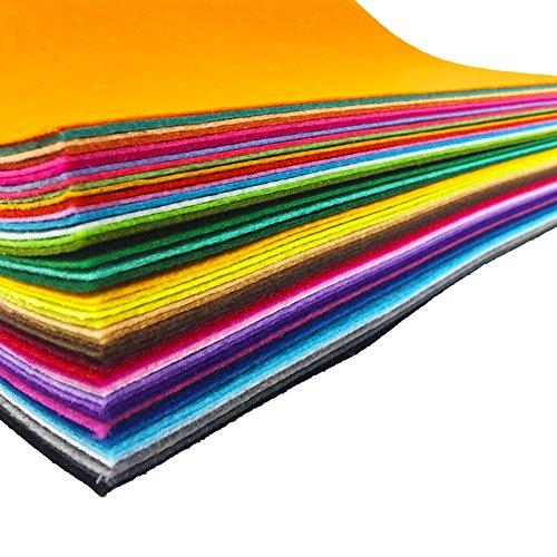 flic-flac 48PCS 12 x 12 inches (30 x 30cm) Assorted Color Felt Fabric Sheets Patchwork Sewing DIY Craft 1mm Thick … (30cm 30cm, 48pcs)