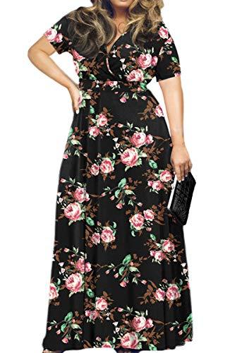POSESHE Women's Plus Size Formal Wedding Dresses Cocktail Party Tube Dress (3X-Large, Rose Black)