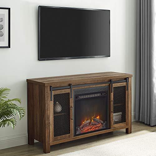 "Walker Edison WE Furniture Fireplace TV Stand 48"" Rustic Oak, Rustic Oak"