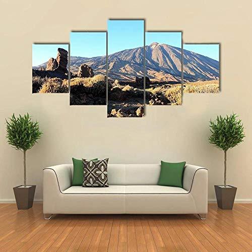 QQQAA Cuadros Modernos Impresión de Imagen Artística Digitalizada Lienzo Decorativo para Tu Salón o Dormitorio Parque Nacional del Teide Tenerife Islas Canarias XXL 5 Piezas (150x80cm)