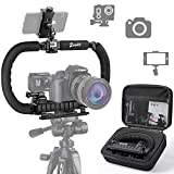 Zeadio Camera Smartphone Stabilizer, Foldable Handle Grip Handheld Video Rig with Carrying Case, Compatibility with All Camera, Camcorder, Action Camera, DSLR, Cell Phone, iPhone, Huawei, Samsung etc