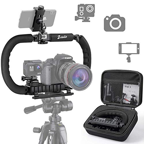 Zeadio Stabilisator für Kamera Handy GoPro, Faltbare Handgriff Video Rig Steadycam Stabilizer für alle Action Kamera, Kamera, Camcorder, DSLR, Smartphone, iPhone, Huawei, Samsung usw