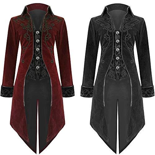 Riou Weihnachten Mäntel Herren Frack Jacke Retro Gothic Gehrock Uniform Kostüm Steampunk Party Hochzeit Abendkleid Cos Revers Dovetail Oberbekleidung (XL, Schwarz)