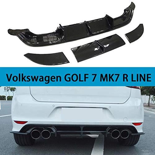 QCHCHUN Auto Heck Diffusor Lippe passt für Volkswagen VW Golf 7 VII MK7 R LINE Schrägheck 2014-2017 Schwarz Carbon Fiber CF Heck Heckstoßstange Diffusor Spoiler