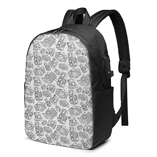 Laptop Backpack with USB Port Camera Graphy Technology, Business Travel Bag, College School Computer Rucksack Bag for Men Women 17 Inch Laptop Notebook