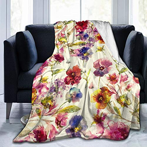 Alvaradod Personalized Custom Throw Blanket,Beautiful Floral Garland,With Pansies,lilac Flowers And Butterfly,Soft Comfortable Plush Blanket for Sofa Bedroom Travel Fluffy Blanket 50'X60'