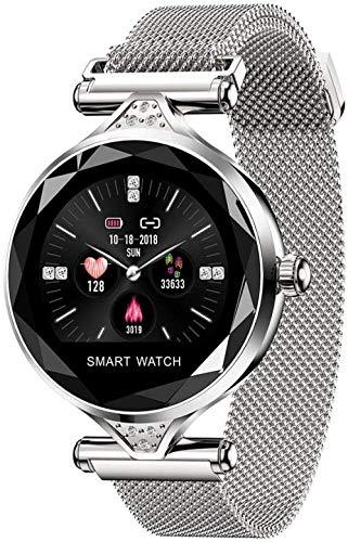 Reloj inteligente para mujer, pantalla a color de alta definición, IP67, resistente al agua, podómetro Bluetooth, grabación de calorías, monitoreo del sueño-plata