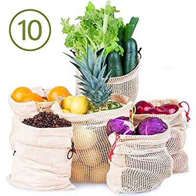 Reusable Produce Grocery Bags- Cotton Produce Bags, Washable, Biodegradable, Eco-Friendly, Double-Stitched, Color-Coded, 3 Sizes, Tare Weight, Unique 2-Fabric Mesh Muslin Design (10 Bio Breathe Bags)