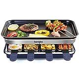Raclette Grill con Antiadherente Plancha, Multifunción Parrilla de Barbacoa Eléctrica para 8 Personas con 8 Mini-Sartenes, Control de Temperatura de 1500W