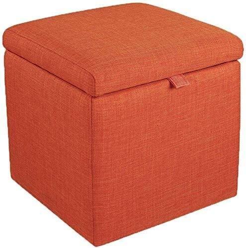 Smisoeq Jiangang-Ottomans Home Simple Furniture Ottoman Footstools Storage Box Stool丨Pouffe Storage Single Seater Bench丨Square Linen Fabric Upholstered Footstool Bedside Stool (Color : Orange)