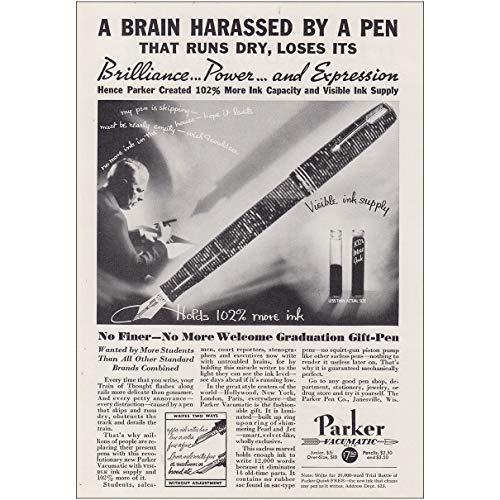 RelicPaper 1935 Parker Vacumatic Pen: Brain Harassed By a Pen, Parker Pen Company Print Ad