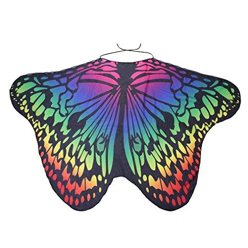 Mode vlindervleugel cape sjaal vrouwen kerstcadeau Comfortabele vlindervleugel cape chiffon pashmina vrouwen sjaalsgradual kleur