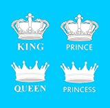 inking house Set of 4 White Royal Crown DIY Screen Print Iron on Patch Transfer for Fabrics King Queen Prince and Princess
