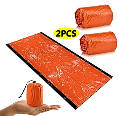 2 PCS Emergency Sleeping Bag, Thick Type Emergency Bivvy Bag Survival Bag, Weatherproof Emergency Foil Blanket,Thermal Insulation, Tear-Resistant, High Visibility Reusable for Outdoor Camping Hiking