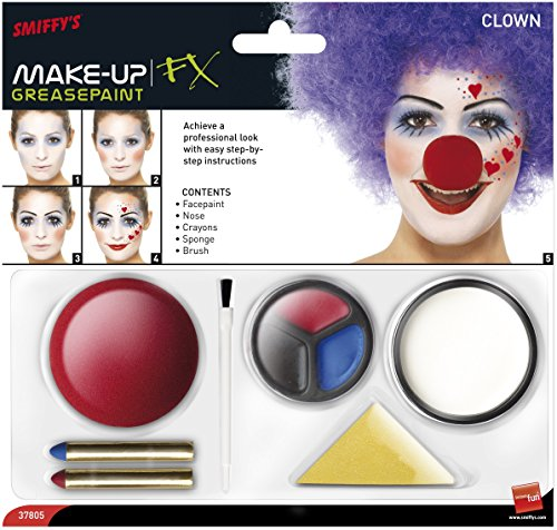 Halloween! Smiffys Smiffys Make Up FX, Clown Kit, enthält Gesichtsfarbe, Nase, Fettstifte und Schwamm