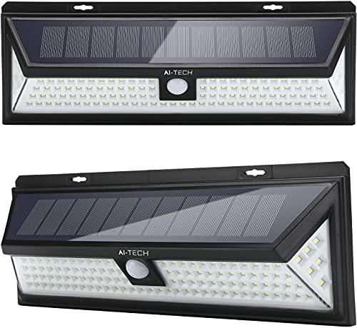 Led-Außenlampe mit Solaraufladung AI-TECH, Solar-Außenleuchten mit 236 Leds, eingebautem 4400mAh Akku, 3 Sensor-Modi und IP65 wasserdicht. Mit 270°-Beleuchtung.