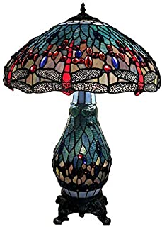 Warehouse of Tiffany's T18275TGRB Dragonfly Tiffany-Style Table Lamp with Lighted Base, 26