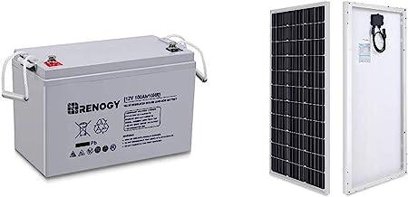 Renogy Deep Cycle AGM Battery 12 Volt 100Ah for RV, Solar Marine and Off-grid Applications & 100 Watt 12 Volt Monocrystall...