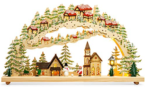 SIKORA LB82 Arco de Luz de Navidad Grande LED de Madera - Pueblo Invernal con Iglesia