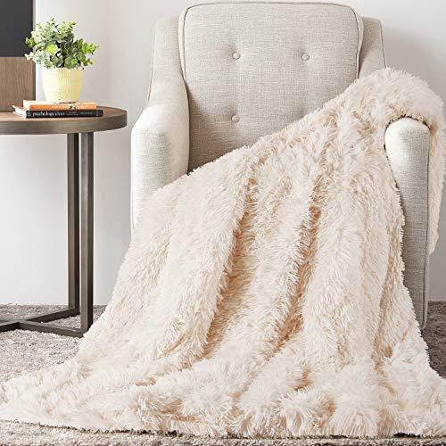 TAOCOCO Manta acogedora Manta de Piel Manta Viva Microfibra Manta de Microfibra Manta de Lana Manta de sofá Manta de Aire Acondicionado de día luz para sofá Cama (Blanco Crema, 130_x_160_cm)
