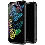 iPhone 6s Plus Case,9H Tempered Glass iPhone 6 Plus Cases Colorful Butterfly Pattern for Girls Women,Soft Silicone TPU Bumper Case for iPhone 6/6s Plus inch 5.5 Colorful Butterfly