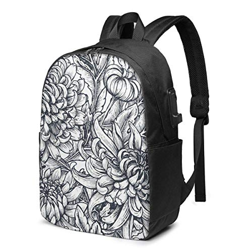 Travel Laptop Backpack, Hand Drawn Flower Travel Laptop Backpack College School Bag Casual Daypack with USB Charging Port
