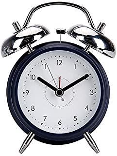 Old-fashioned classic dual clock alarm clock battery operation analog alarm clock with backlight round and loud without ba...