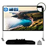 WASJOYE 100 inch Projector Screen with Stand 16:9 HD 4K Collapsible Portable Rear