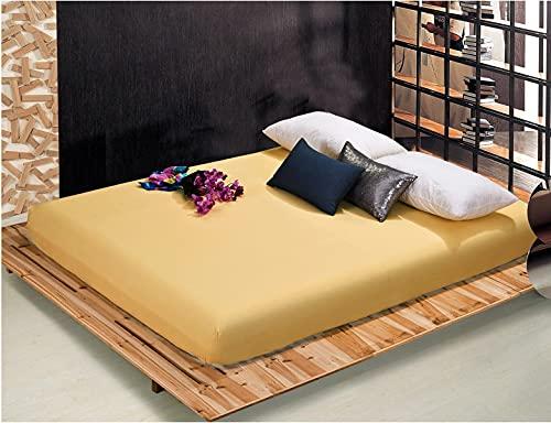 Acogedor 1pcs 100% poliéster colchón de colchón sólido con Cuatro Esquinas y Hojas de Banda elástica Caliente para Hotel en casa (Color : Yellow, Size : 200x220x25cm)