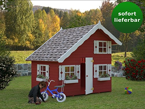 Kinderspielhaus Kalmia K5 inkl. Fußboden, naturbelassen - 16 mm Blockbohlenhaus, Grundfläche: 3,80 m², Satteldach