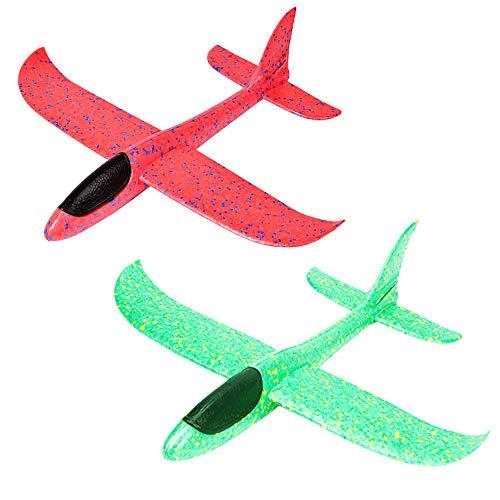 Huture 2 aviones de poliestireno de 35 cm para niños, avión, juguete para exteriores, lanzamiento de vela, avión, juguete de espuma, color rojo y verde, avión, regalo para niños y niñas