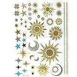 Allydrew Large Metallic Gold Silver and Black Body Art Temporary Tattoos, Sun,...