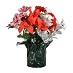 TenWaterloo-18-Inch-High-Outdoor-Artificial-Christmas-Poinsettia-Arrangement-Red-Plaid-Flowers-Red-Silver-and-White