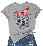 Dog T Shirt Women Buldog Tee Funny Graphic Tops Casual Short Sleeve Clothes (Grey, M)