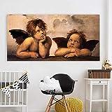 Pintura sin Marco Clásico Lienzo Pintura al óleo Arte Angelito Pared Imagen para Sala de Estar decoración del hogar ZGQ3522 60X120cm